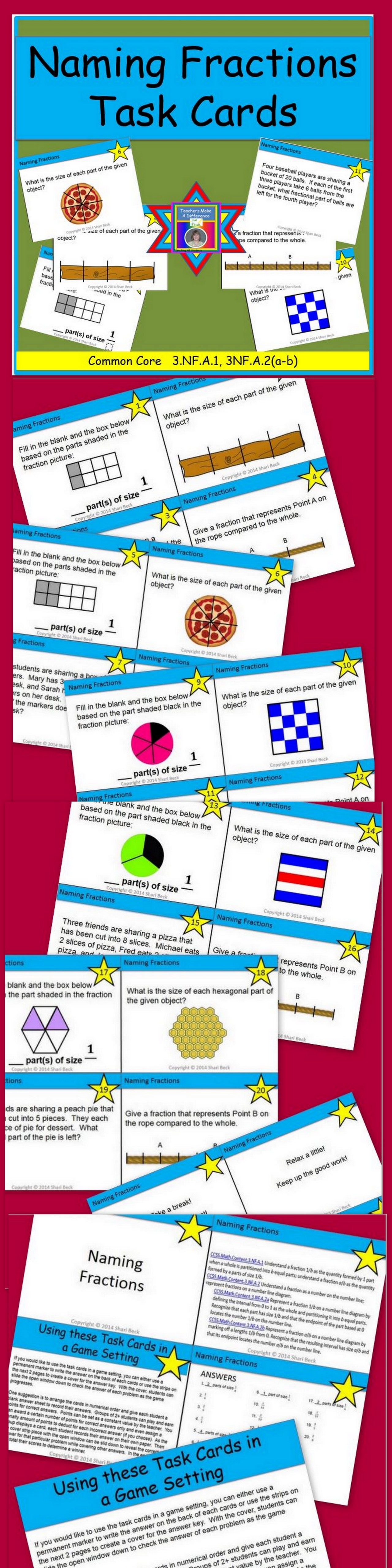 Naming Fractions Task Cards   Common core standards, Core standards ...