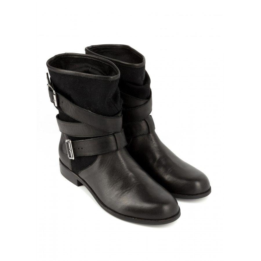 boots à sangles natalya noir - bottine plate - chaussures femme