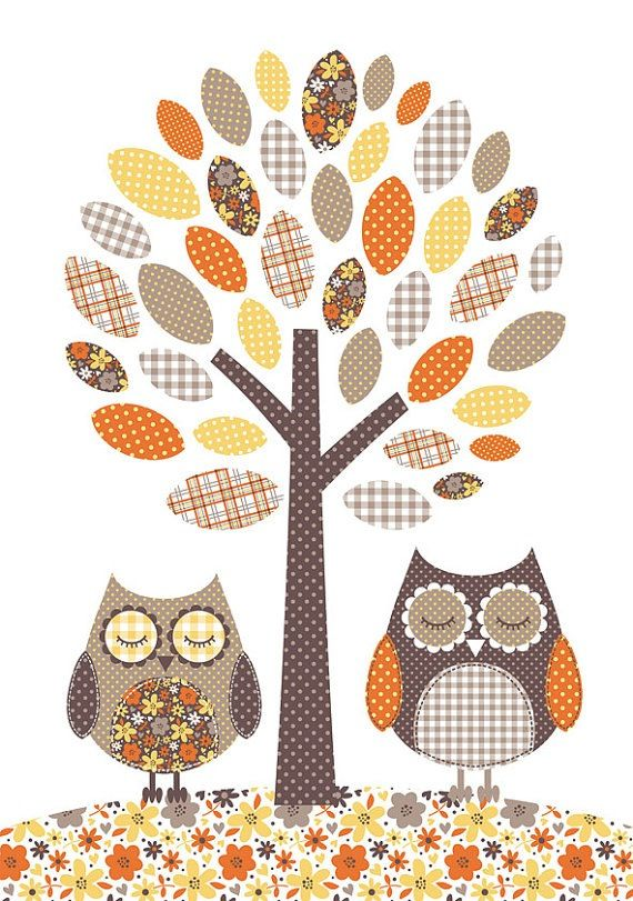 Owls and tree. Bubble Gum Years - ETSY | ARBOLES PINTORESCOS ...