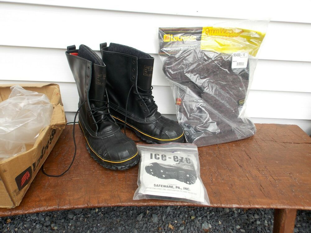 Black Rubber Size 10 Steel-Toed Construction Boots