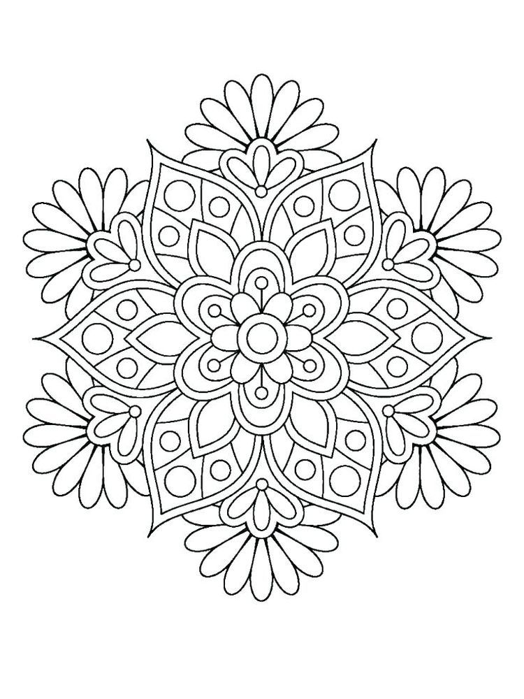 A Mandala With A Magnificent Rose Leaves Jewels And Elegant Patterns In 2020 Flower Coloring Pages Mandala Coloring Mandala Coloring Books