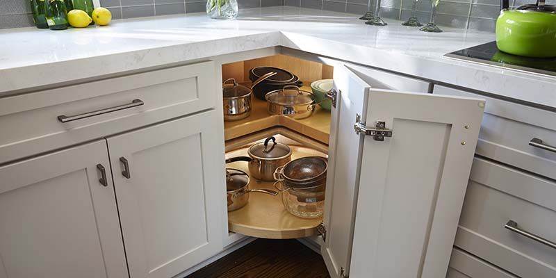 Lazy Susan Corner Cabinet With Two Rotating Trays Storing Cooking Pans And Measuring B Corner Kitchen Cabinet Lazy Susan Corner Cabinet Kitchen Cabinets Hinges
