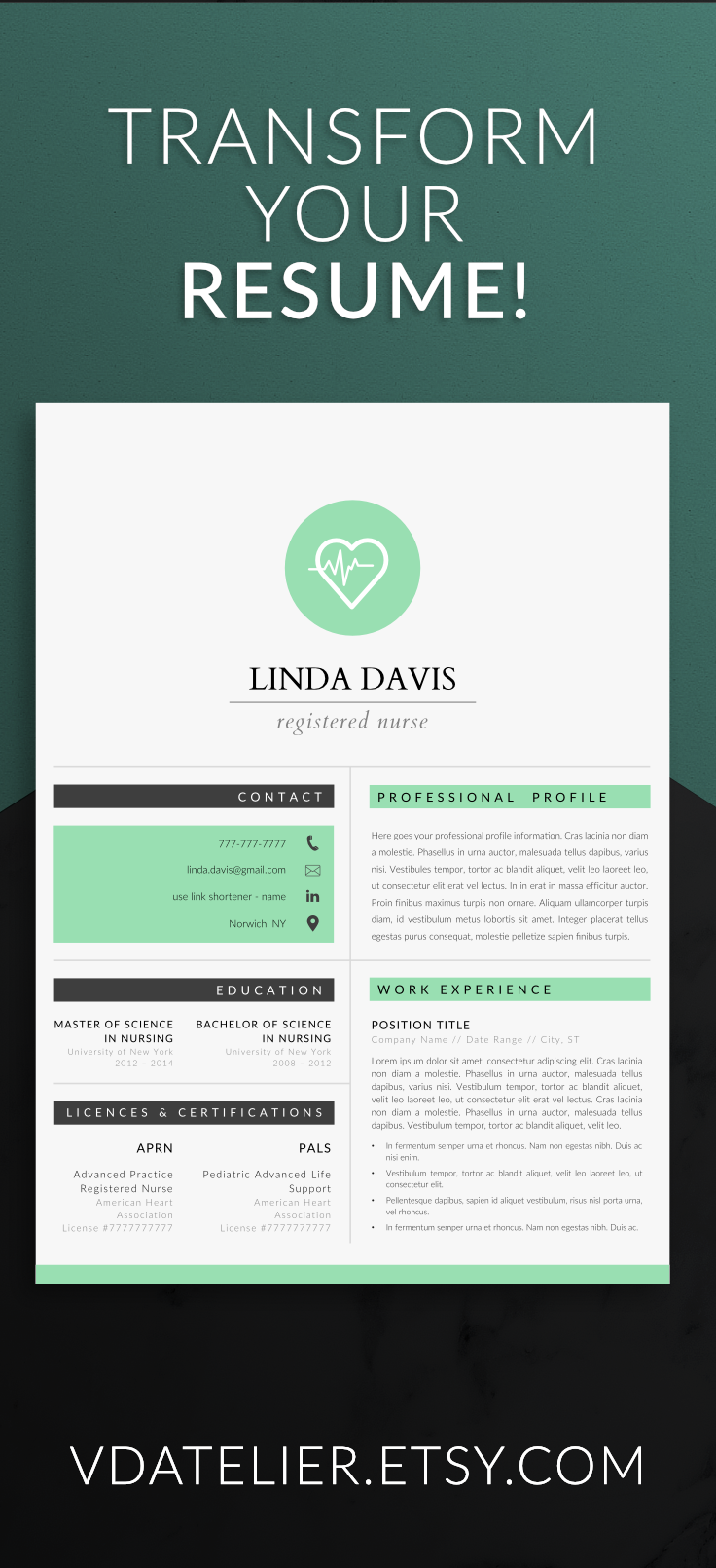 Nurse Resume Template For Modern Professionals. Suitable As Medical