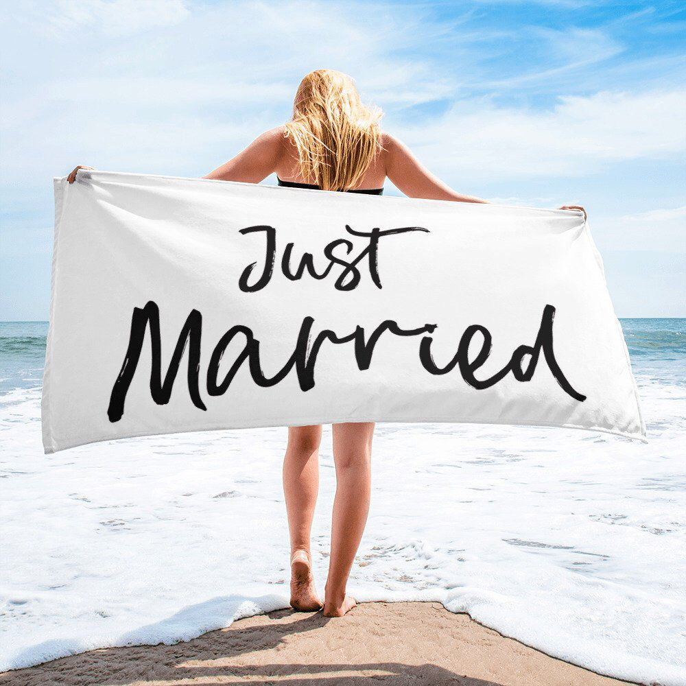 Just Married Towel Honeymoon Gifts Beach Towels For