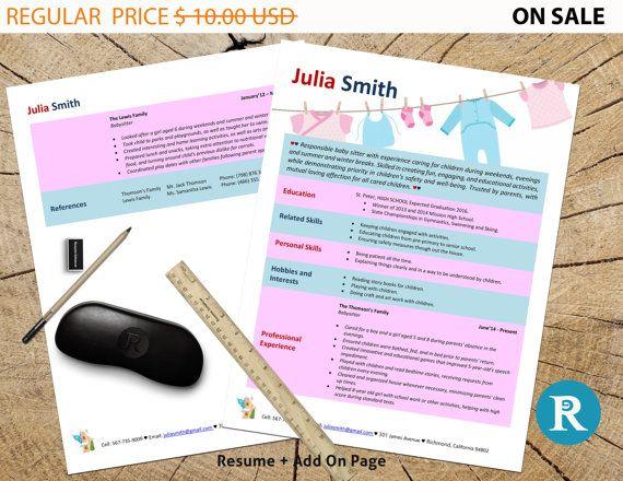 Babysitter Resume Template Resume Design CV Template Modern - babysitter on resume