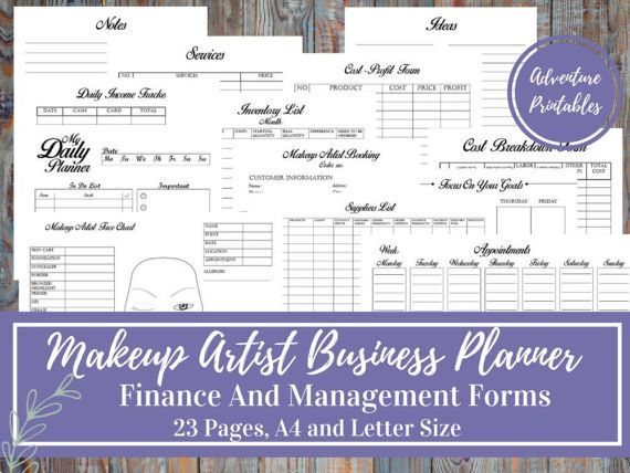 Makeup Artist Business Planner and Manager, Financial and - financial business plan template
