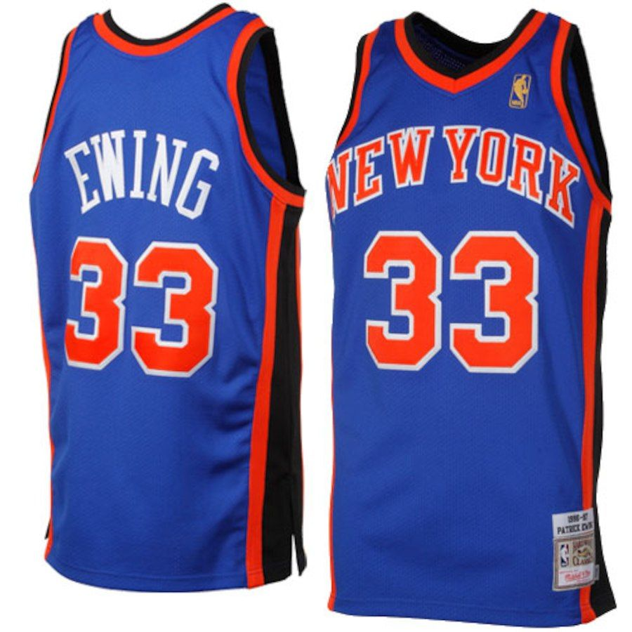 Mitchell   Ness Patrick Ewing New York Knicks 1996-1997 Hardwood Classics  Throwback Authentic Jersey - Royal Blue be74cec99