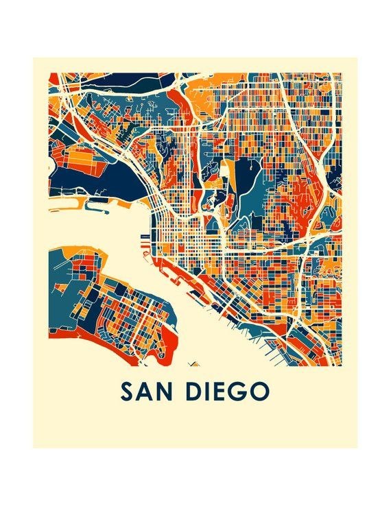 San Diego Map City.San Diego Map Print Full Color Map Poster Products In 2019