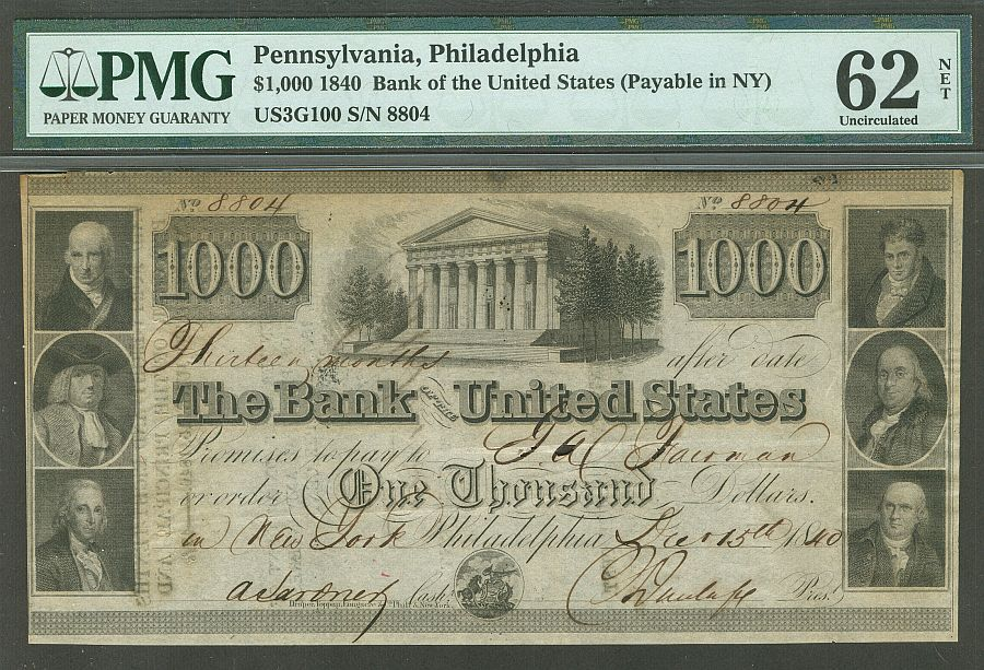 Bank Of The United States 1000 Dec 15 1840 The Bank Of The United States Was A Private Bank And The United St United States Financial Documents Bank Notes