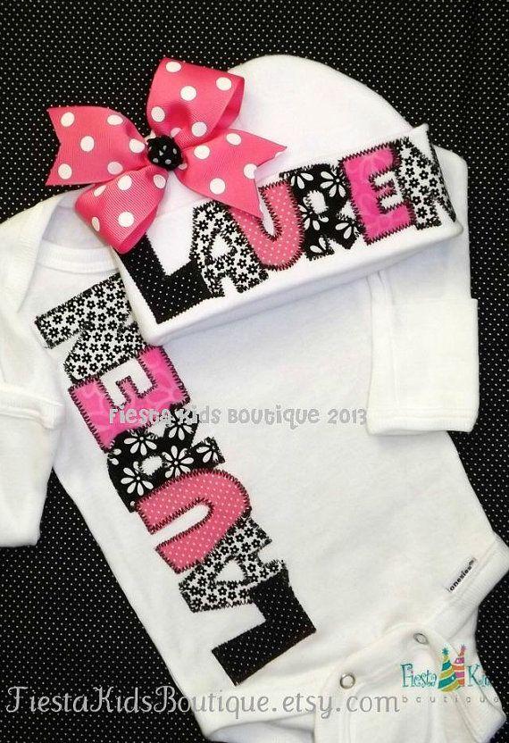 Baby girl onesie and hat SET, personalized, coming home outfit ...