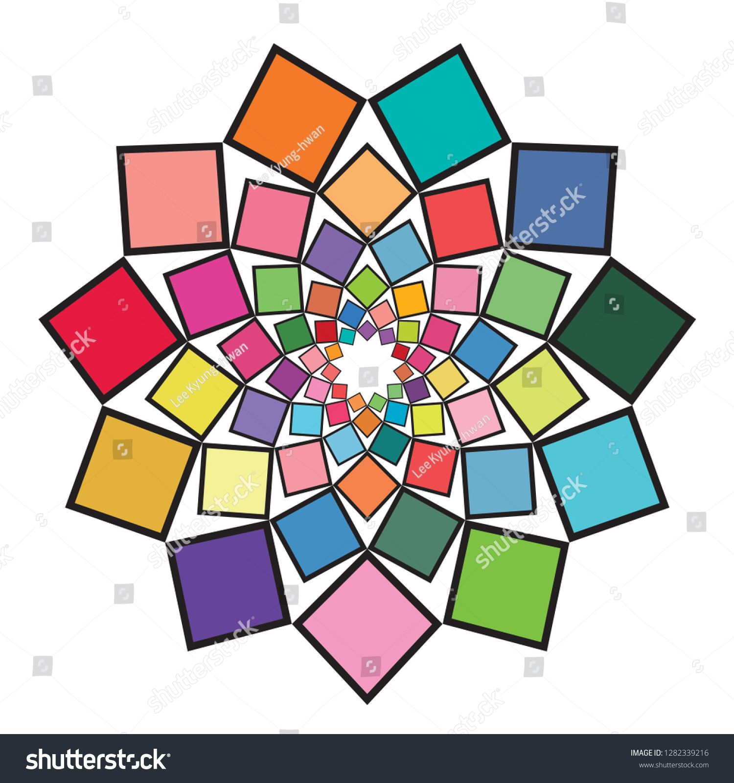 flower shaped ornamental work made using various colored squares fashion design and house interior vector illustration ad also rh pinterest