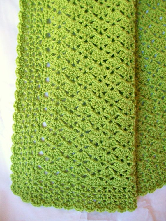 This would make a great gift! Crochet Green Baby Blanket Green Crib ...