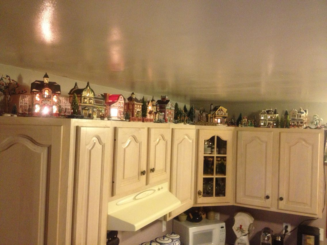 Christmas Village On Top Of Cabinets Steven Costa 2013 Christmas Village Display Dollar Tree Christmas Decor Kitchen Cabinets Decor