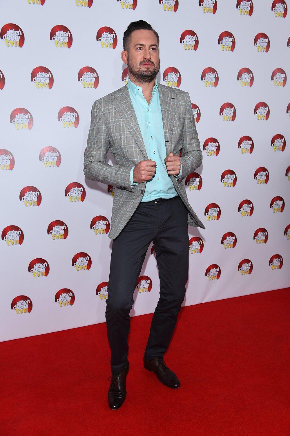Marcin Prokop Mietowa Koszula Szara Marynarka I Granatowe Spodnie Men S Blazer Mens Fashion Men