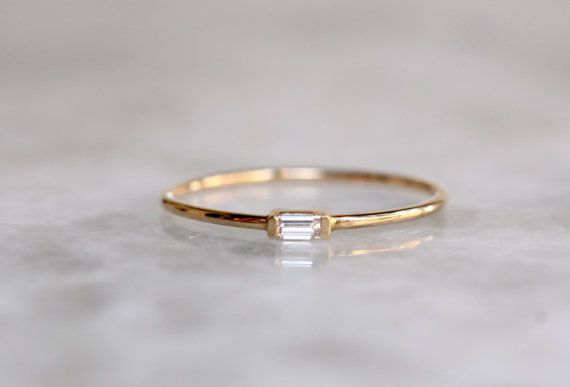 14K Gold Tiny Baguette Diamond Ring, Diamond Ring, Dainty Ring, Solid Gold, Stacking Ring, As... 14K Gold Tiny Baguette Diamond Ring, Diamond Ring, Dainty Ring, Solid Gold, Stacking Ring, Astrology Ring, April Birthstone, Promise Ring,