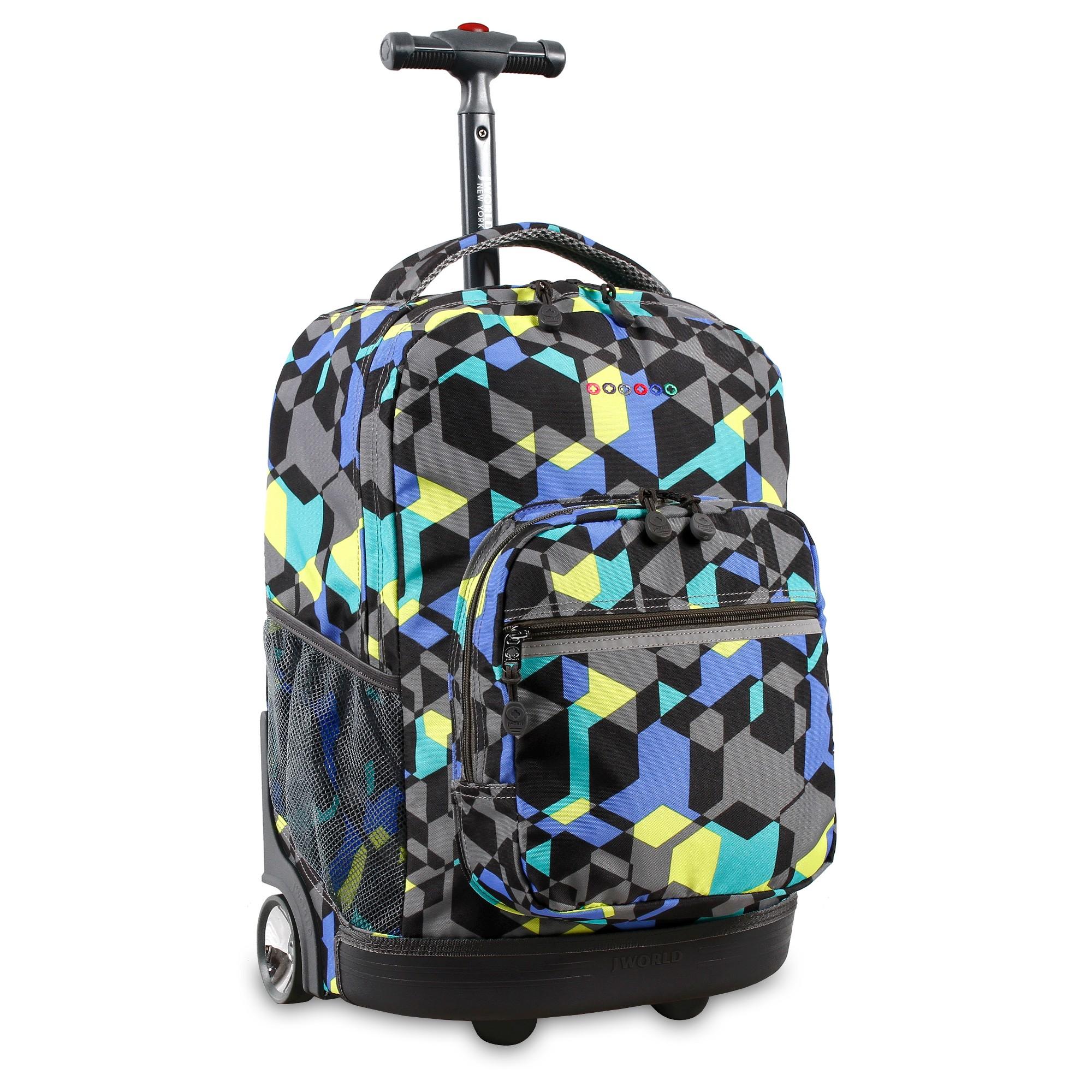 J World Sunrise Rolling Backpack - Cubes, Black | Rolling backpack ...