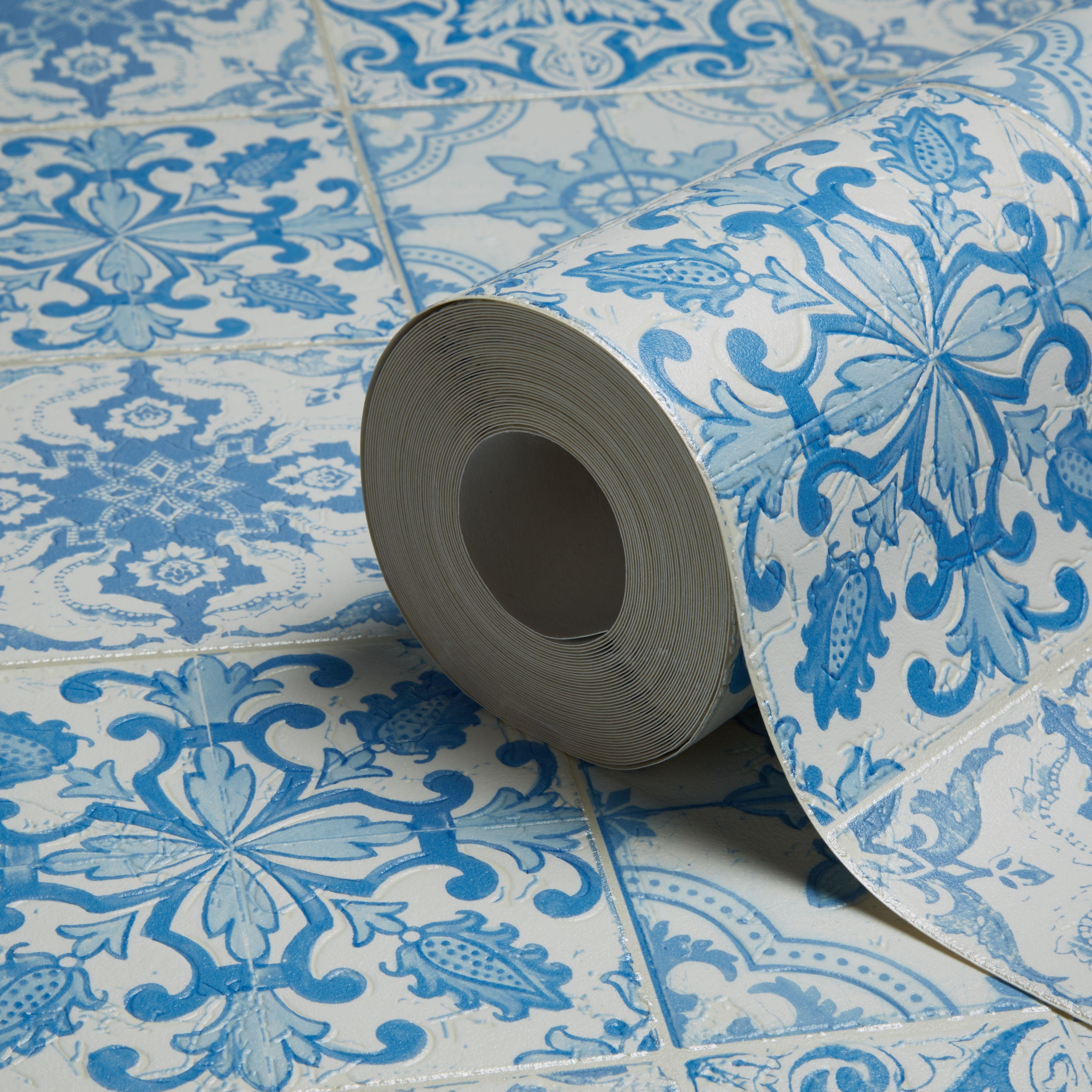 B q bathroom scales - A S Creation Chatsworth Blue White Mosaic Tile Wallpaper