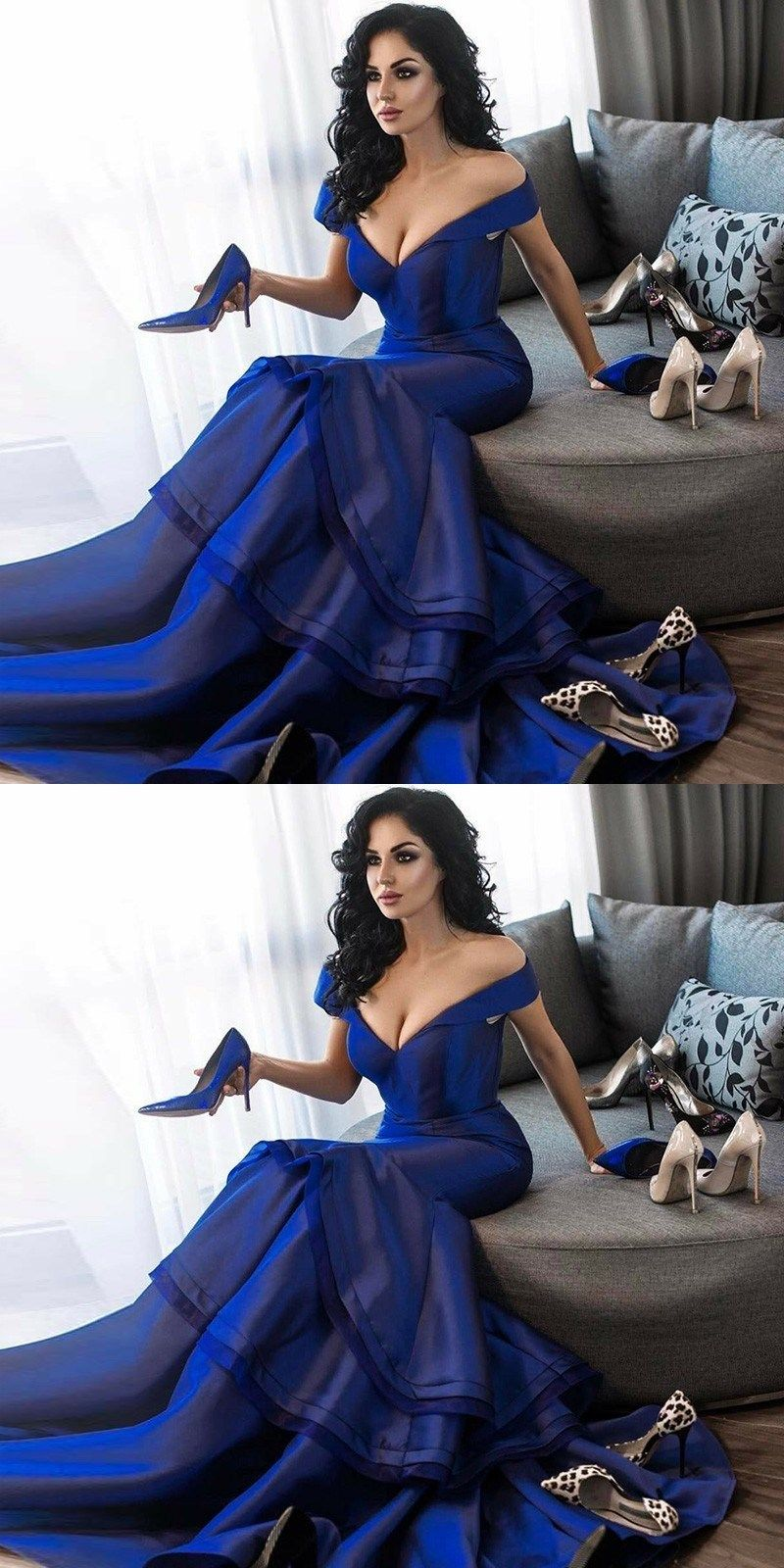 Mermaid offtheshoulder sweep train royal blue prom dress gowns