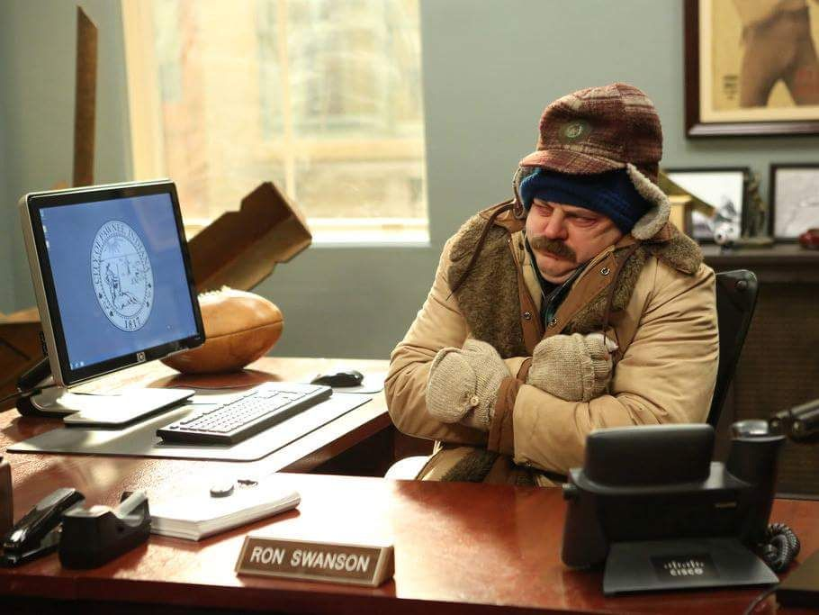 Ron Swanson feels cold. Parks And Recreation   Parks and ...