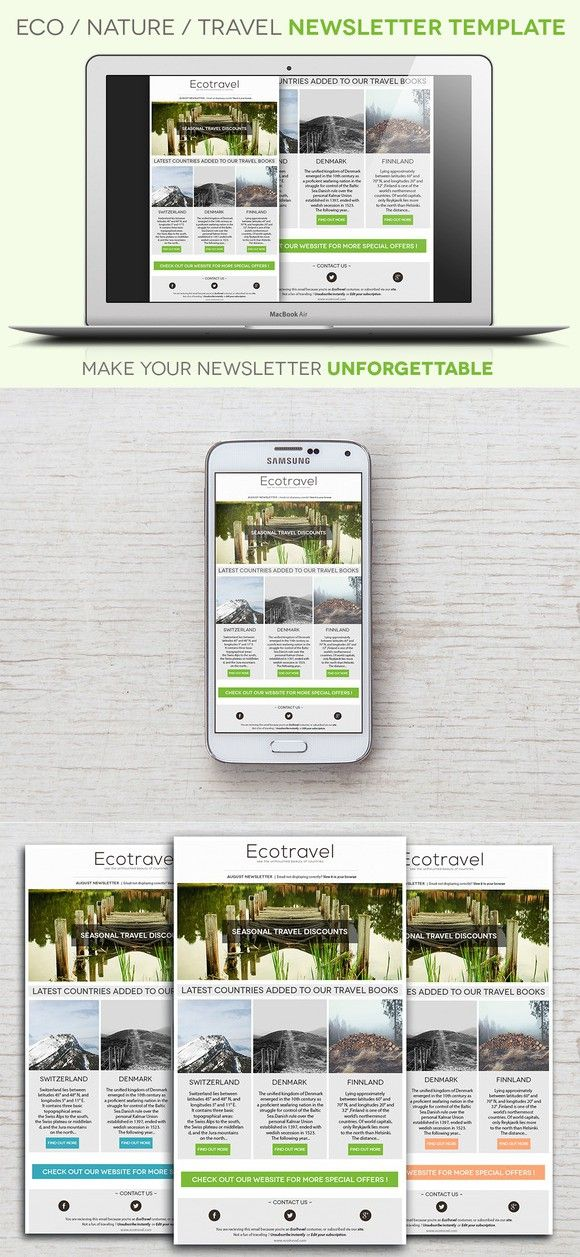 Eco/Travel Newsletter Template Email Templates Templates