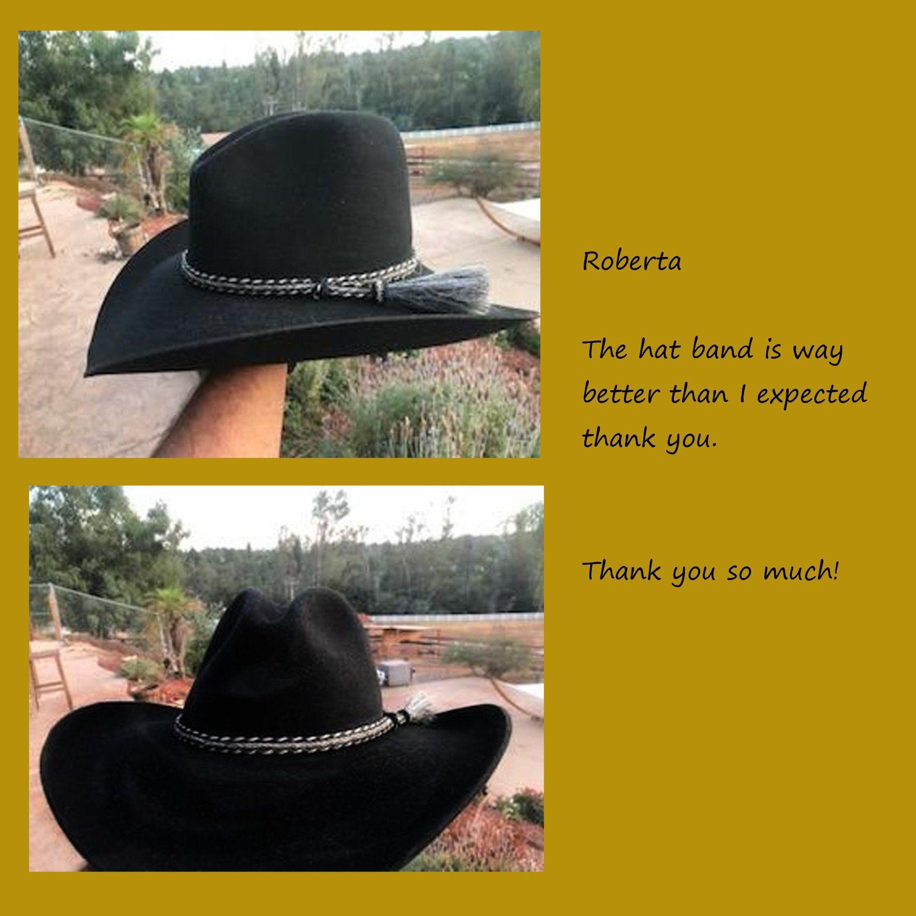 Cinnamon-White horsehair Horsehair hat band Fantastic hat band Cowboy Hat