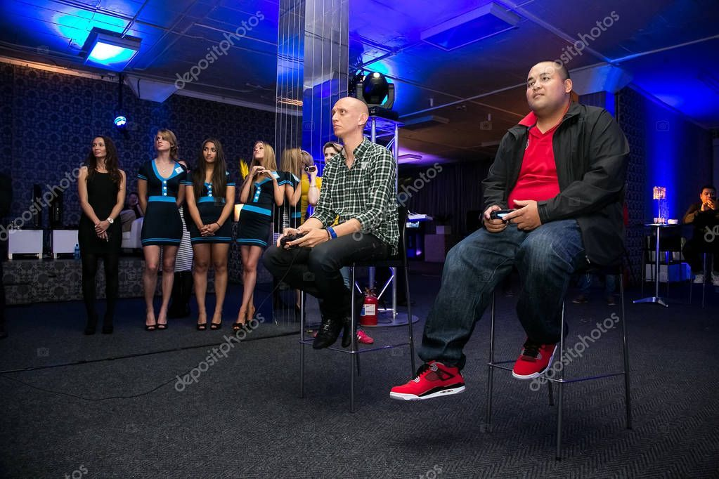 Gamers at play station ps4 launch event stock photo