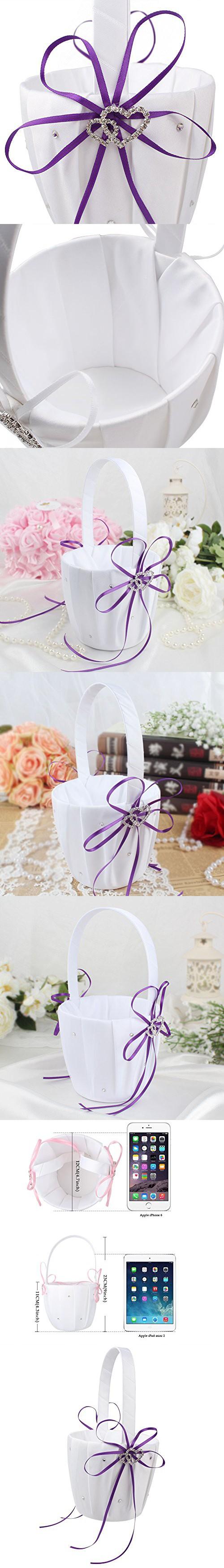 OurWarm Double Heart Wedding Flower Girl Basket White Satin ...