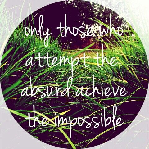 Only those who attempt the absurd achieve the impossible.