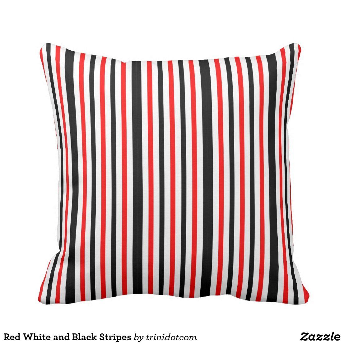 Red white and black stripes throw pillow pillow design throw