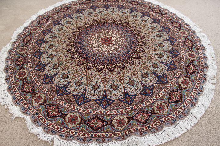 round gonbad tabriz persian rug; 6' 2m round tabriz persian rugs