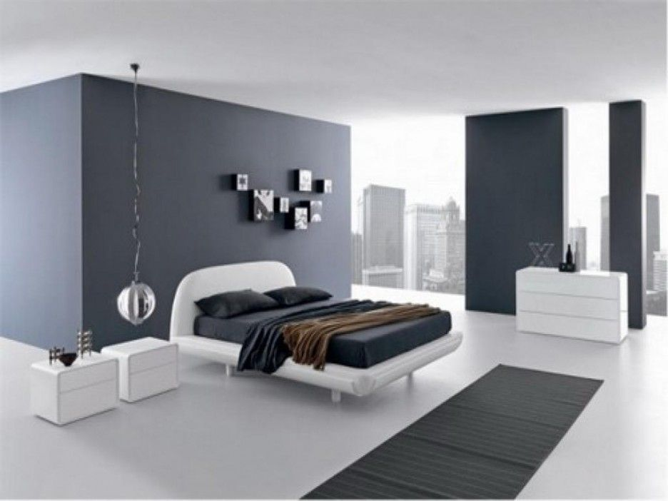 Engaging Grey Wall Paint Color Featuring Rectangle Shape Grey Colored Carpet And White Bed Fram Minimalist Bedroom Design Modern Bedroom Design Minimalist Room