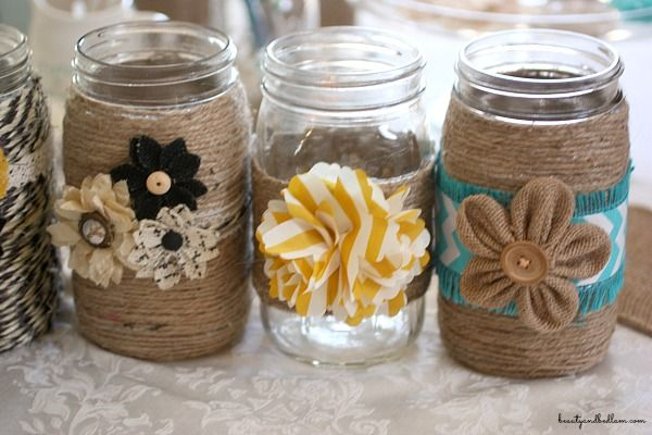 Decorating Mason Jars With Twine - Easy Craft Ideas