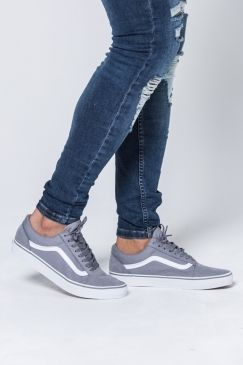 17becb13b1a841 Vans Old Skool Shoes - (Suede Canvas) Frost Gray True White in 2019 ...
