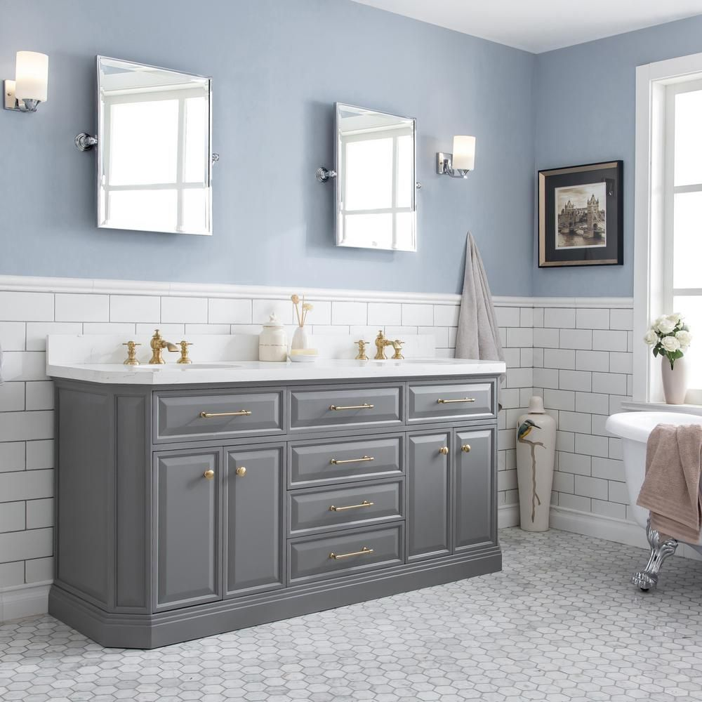 Water Creation Palace 72 In W Bath Vanity In Cashmere Grey With