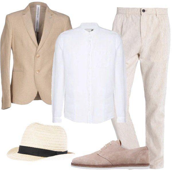 uomo camicia bianca e pantalone sabbia giacca