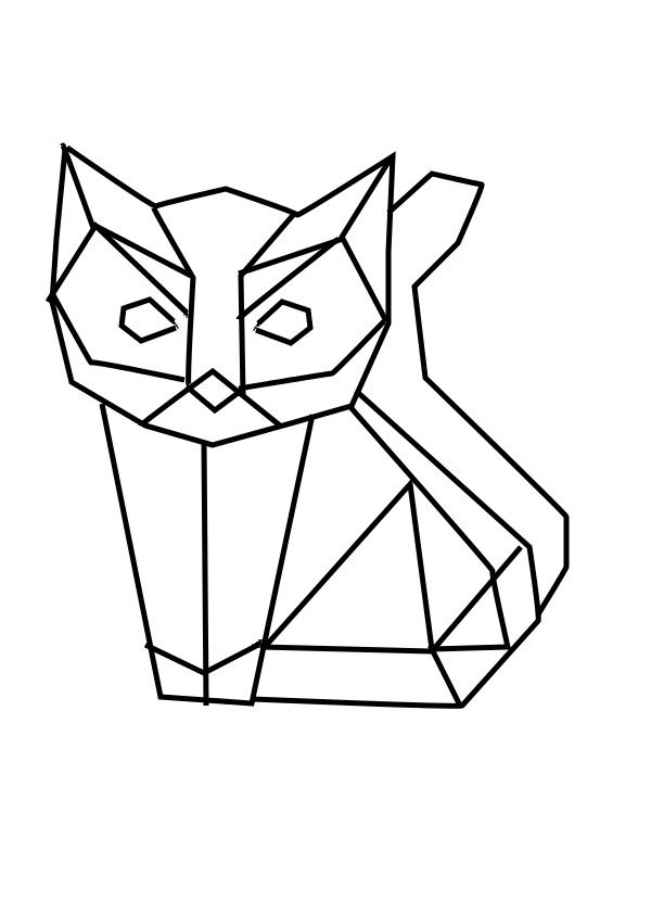 geometric geometrique cat chat patron pinterest origami animaux geometrique et dessin. Black Bedroom Furniture Sets. Home Design Ideas