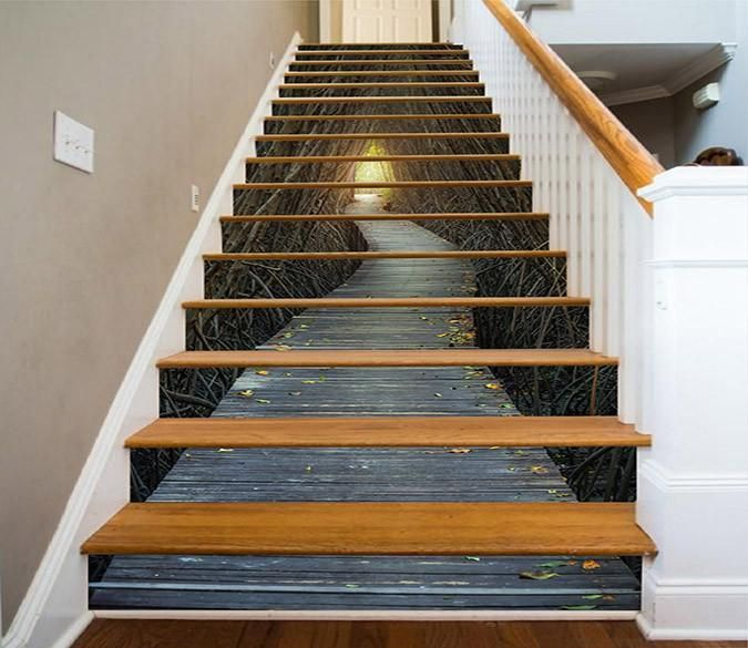 Best 3D Bare Trees Wood Path 1557 Stair Risers Stair Risers 400 x 300