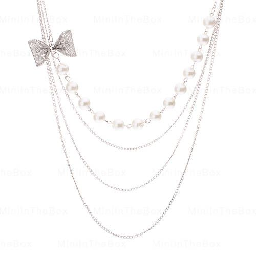 [USD $ 7.99]  - 3 Layers Pearl Bowknot Long Necklace(buy 1 get 1 gift)