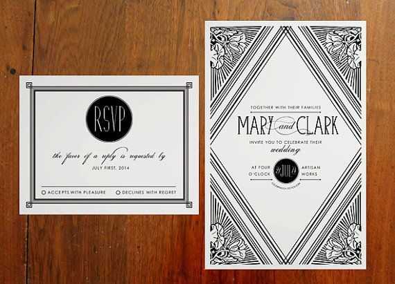 Deco Wedding Invitations: Printable DIY Art Deco Wedding Invitation Set By