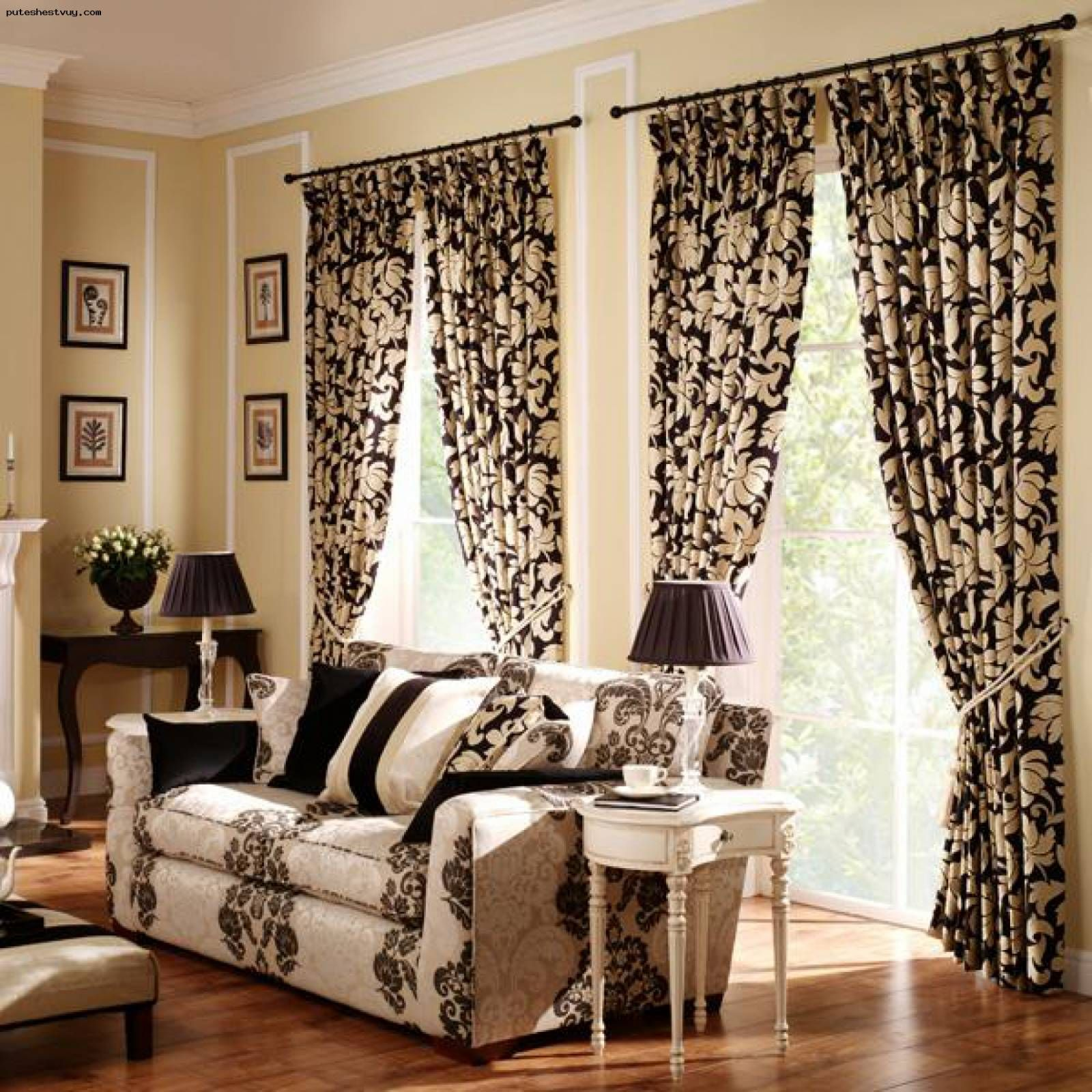 Gold And Black Flowery Pattern Curtains On Cozy Modern Curtain Ideas For Living Room Misafa Curtains Living Room Modern Curtains Living Room Blinds Design #patterned #curtains #for #living #room