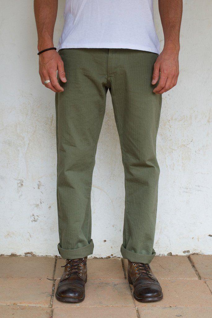 c574281cf Freenote Cloth | Workers Chino Vintage Fit - Olive Herringbone | $220