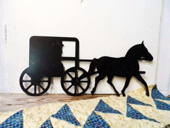 2 Standing Shelf Metal Silhouettes - Amish Family and ... |Metal Horse And Buggy Silhouette