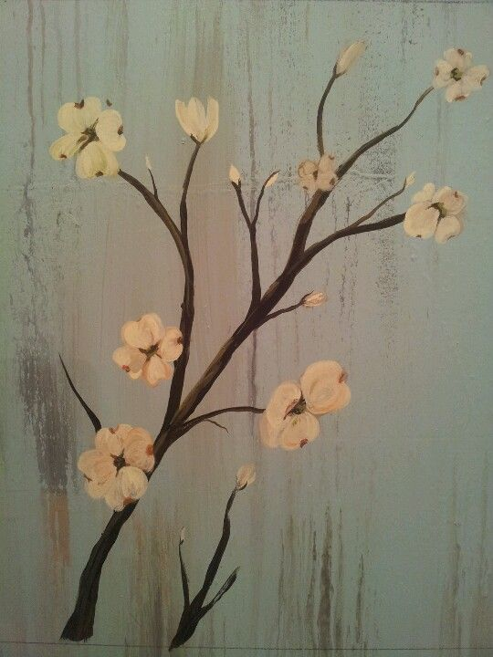 Dogwood Flowers Painted On Wood Wall Painting Flowers Flower