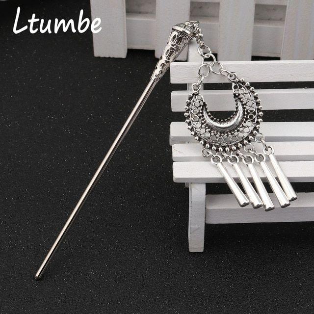 Ltumbe Vintage Silver Color Boho Long Hollow Moon Stripe Tassel Hair Sticks  for Women Chopsticks Hairpins 2b12bd308cd0