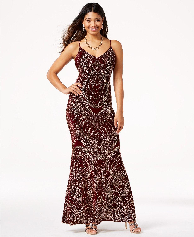 Jump Juniors\' Low-Back Glitter Slip Gown | macys.com | prom dresses ...
