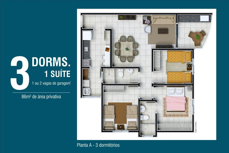 Chamada com planta decorada do apartamento de 3 dormitórios do Vila Serena