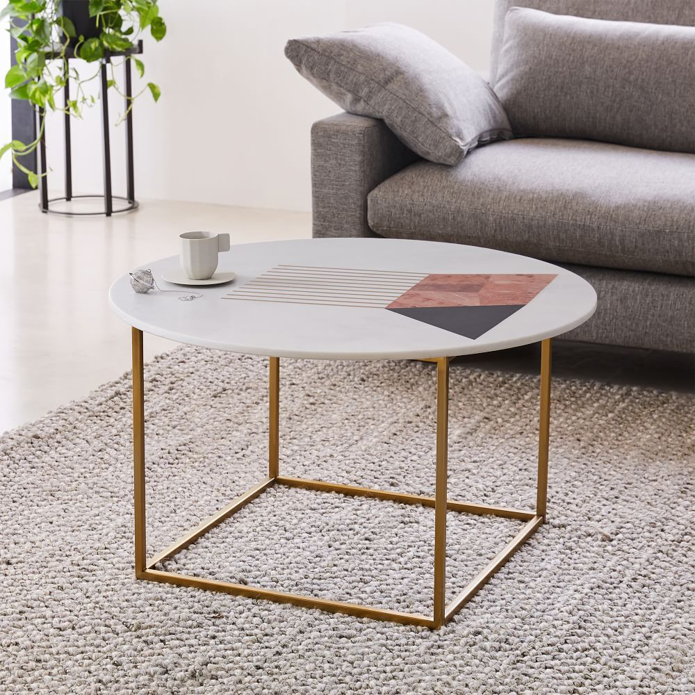 Graphic Marble Inlay Round Coffee Table Ndash White Coffee Table Contemporary Coffee Table White Round Coffee Table [ 1000 x 1000 Pixel ]