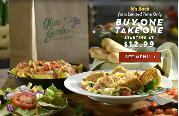 OLIVE GARDEN Coupon for 10/30 Purchase + Buy One