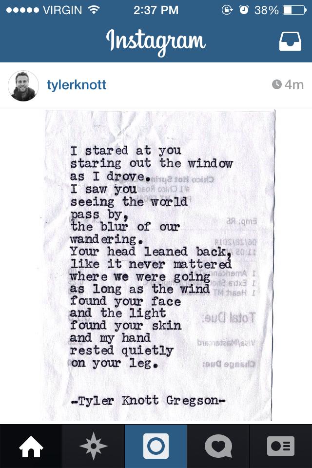 Love @tylerknott 's poetry! #typewriterseries #tylerknott