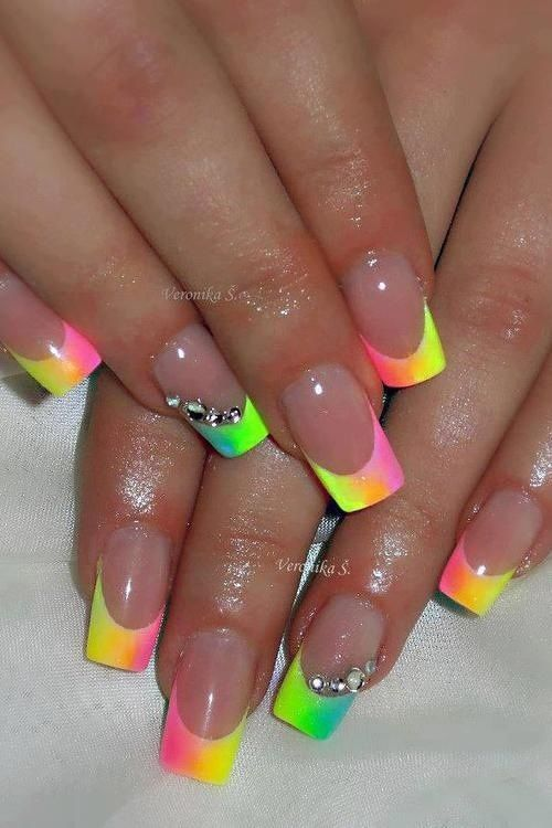 Nail Art Multi Spring Color French Tip Rainbow Nails Trendy